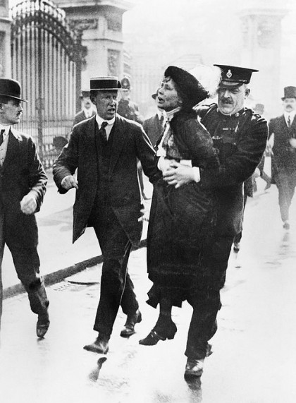 Emmeline Pankhurst arrested. Photo in public domain.